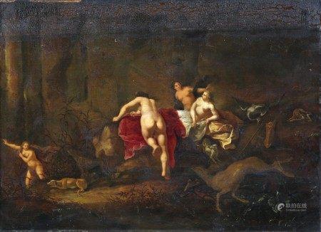 Attribué à Cornelis van POELENBURGH (Utrecht 1586 - 1667) Diane et ses nymphes [...]