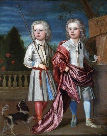 ECOLE du XVIIIème Siècle Deux frères jumeaux enfants et un chien HUILE SUR TOILE [...]