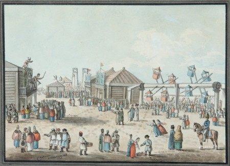 Karl Ivanovitch KOLLMANN (1788-1846) Fête foraine à St Petersbourg 1818 Dessin [...]