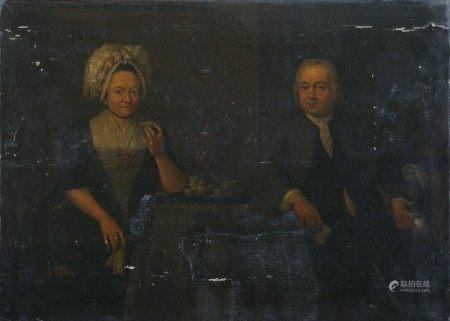 Ecole HOLLANDAISE vers 1780 entourage de Tibouts RUTGERS Portrait d'un couple prenant [...]