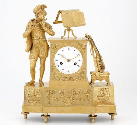 PENDULE au troubadour signée ARMINGAUD Lainé à Paris Epoque Charles X Bronze doré [...]