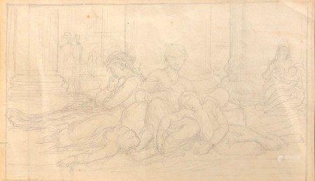William BOUGUEREAU (1825-1905) Famille de paysans italiens Graphite 11 x 18,5 cm [...]