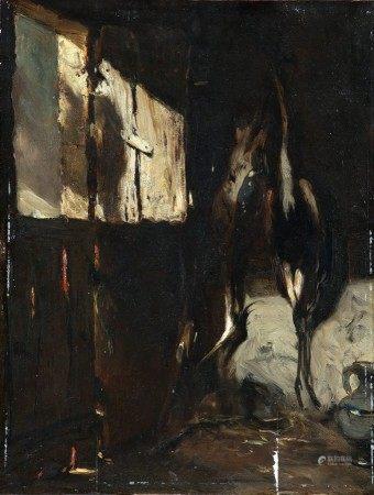 Attribué à Eugène ISABEY (1803-1886) Nature morte aux échassiers Panneau Hauteur [...]
