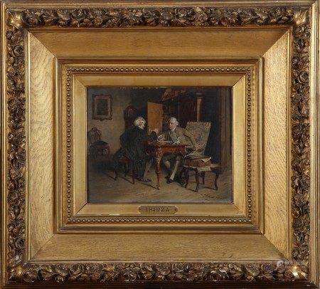Johann HAMZA (1850-1927) Deux personnages dans un intérieur XVIIIème (la [...]