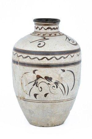 CHINE - Période Cizhou (XIIIème-XIVème Siecle) VASE en céramique vernissée et [...]