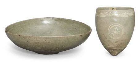 A Korean celadon cup, masangbae, Goryeo dynasty, 12th/13th century, of conical form with pointed