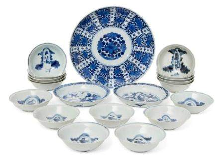 A collection of Japanese Arita porcelain, 17th - 19th century, comprising two similar dishes painted