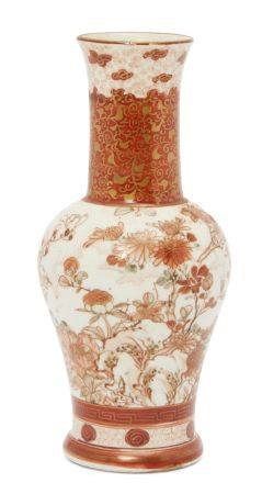 A Japanese Kutani porcelain bottle vase, early 20th century, painted with birds and insects amidst