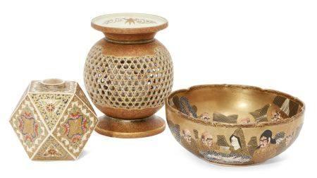 Japanese Satsuma dragon ware vase, Meiji period, signed Dai Nippon Choshuzan Sei Zo to base, faceted