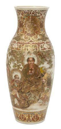 Large Japanese Satsuma vase, early 20th century, sealed Dai Nippon to base, decorated ornately