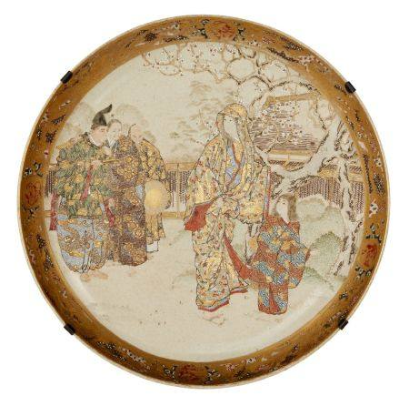Japanese Satsuma plate, late Meiji period, depicting a woman and girl walking in a garden being