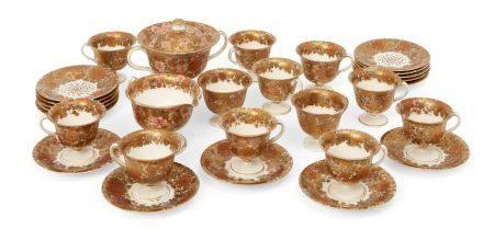 A Japanese Satsuma coffee service by Kinkozan, Meiji period, comprising thirteen cups, fifteen