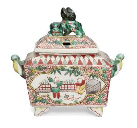 A Japanese chinoiserie censer, late 19th century, depicting children in a garden, with elephant