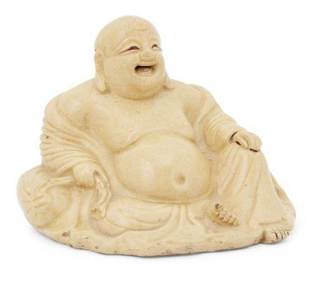 A Japanese pottery figure of Hotei, 19th century, modeled seated on his bindle with laughing