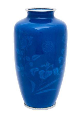 A Japanese blue enamel ovoid vase by Tamura, early 20th century, decorated with musen shippo