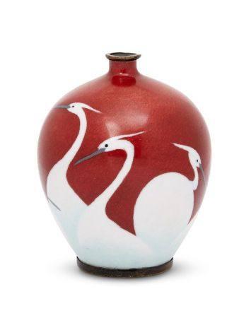 A Japanese enamel vase, late Meiji/ Taisho period, with flared rim to a globular body, decorated