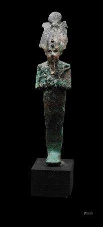 Dieu Osiris.Bronze. Epoque Saïte.Légers manques. Henv 16cm.  Prov :Galerie [...]