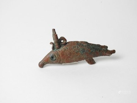 Statuette d'oxyrhynque en bronze.Manques visibles. Epoque ptolémaïqueB4X7cm.    [...]