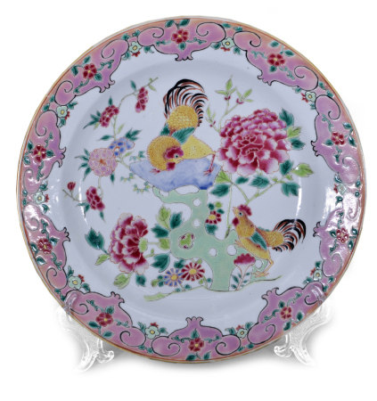 清 粉彩花鳥盤