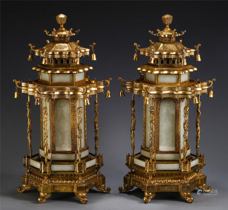 A PAIR OF CHINESE GILT BRONZE JADE CARVED BUDDHIST NICHE TOWERS