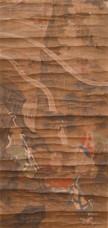 CHINESE SILK HANDSCROLL PAINTING OF ARHATS GATHERING