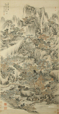 CHINESE PAINTING OF MOUNTAIN LANDSCAPE BY WANG HUI