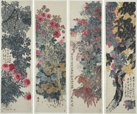 SET OF 4 CHINESE PAINTING OF FLOWERS BLOSSOMMING BY QI BAISHI
