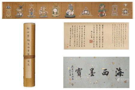 CHINESE SILK HANDSCROLL PAINTING OF LANG SHINING
