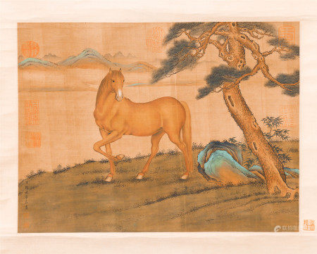 CHINESE SILK HANDSCROLL PAINTING OF HORSE UNDER THE PINE TREE