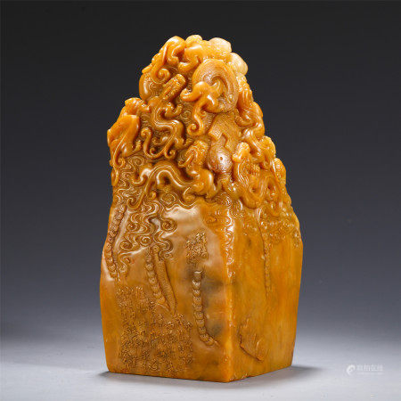 CHINESE TIANHUANG STONE CARVED BEASTS GATHERING SEAL