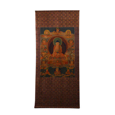 CHINESE TIBETAN THANGKA DEPICTING SEATED BUDDHIST