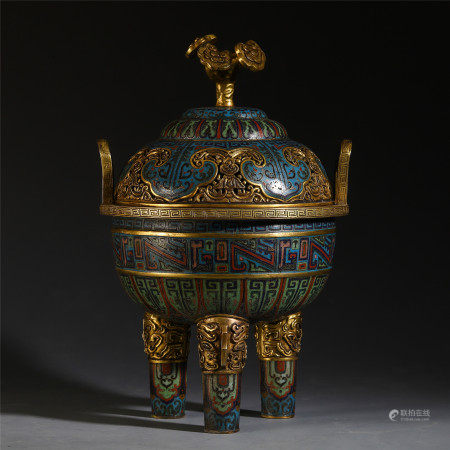 A CHINESE CLOISONNE DOUBLE HANDLE TRIPLE FEET LIDDED CENSER