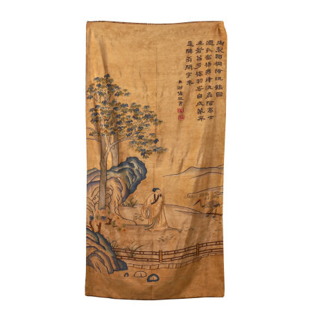 CHINESE EMBROIDERY KESI TAPESTRY DEPICTING SCHOLAR IN MOUNTAIN