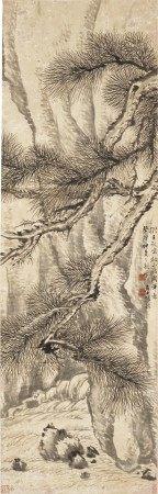 清 张敔(1734-1803) 松岩图