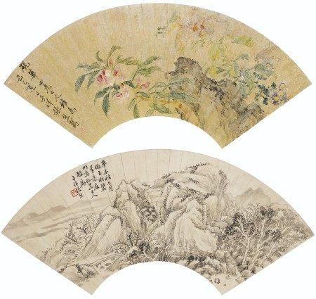 清 张熊(1803-1886) 群芳/溪山幽居