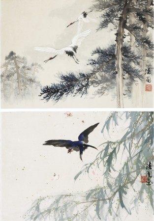 何漆园(1899-1970) 双鹤/燕