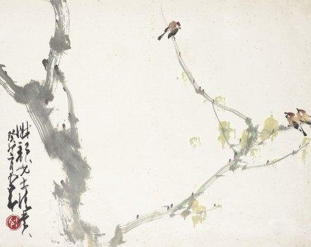 赵少昂(1905-1998)  三雀