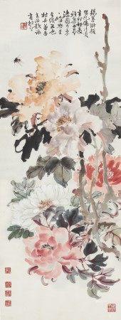赵少昂(1905-1998)、何漆园(1899-1970)、叶少秉(1896-1968)、周一峰(1890-1982)、容漱石(1903-1996) 牡丹