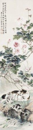 孔小瑜(1899-1984) 花儿与猫