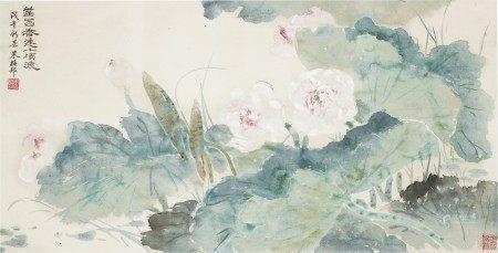 朱梅邨(1911-1993)  荷花