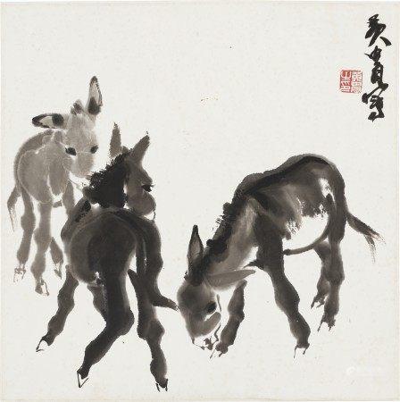 黄冑(1925-1997) 三驴图