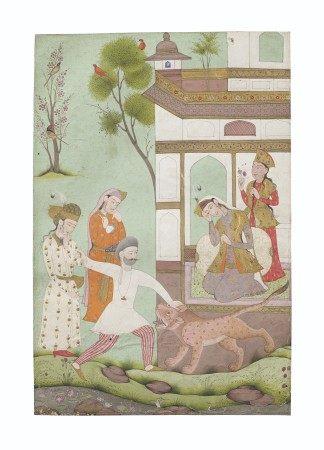 A PAINTING OF RUSTAM KILLING A LION INDIA, DECCAN, CIRCA 1700