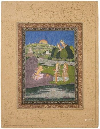 A PAINTING OF IBRAHIM IBN ADHAM VISITED BY ANGELS INDIA, HYDERABAD, THIRD QUARTER OF 18TH CENTURY