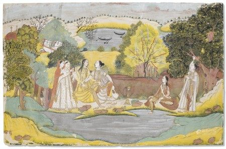 A PAINTING OF A GROUP OF LADIES BY A RIVER INDIA, PROVINCIAL MUGHAL, POSSIBLY AVADH, SCHOOL OF MUHAMMAD FAQIRULLAH KHAN, CIRCA 1760-1770