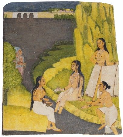 A FRAGMENTARY PAINTING DEPICTING FOUR LADIES BATHING IN A RIVER INDIA, RAJASTHAN, KISHANGARH, CIRCA 1770