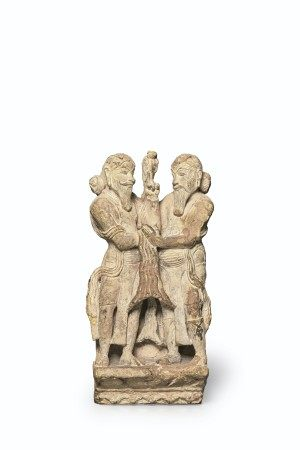 A BUFF SANDSTONE RELIEF OF A KING AND PRIEST CENTRAL INDIA, MADHYA OR UTTAR PRADESH, CHANDELA PERIOD, 10TH-11TH CENTURY