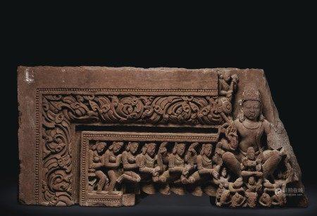 A RED SANDSTONE FRIEZE DEPICTING SURYA INDIA, RAJASTHAN OR MADHYA PRADESH, 11TH-12TH CENTURY