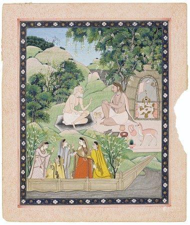 AN ILLUSTRATION FROM A SHIVA PURANA SERIES: SHIVA AND THE SAGE BHRINGISHA INDIA, KANGRA, CIRCA 1800