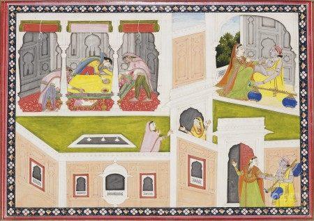 AN ILLUSTRATION FROM A MADHAVANALA KAMAKANDALA SERIES: MADHAVANALA AS A WANDERING MUSICIAN NORTH INDIA, PUNJAB HILLS, KANGRA, 1830