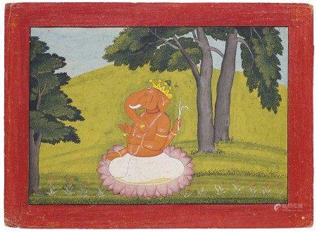 A PAINTING OF GANESHA NORTH INDIA, PUNJAB HILLS, GULER, CIRCA 1760